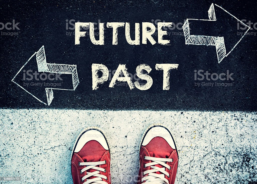 Future and past dilemma stock photo