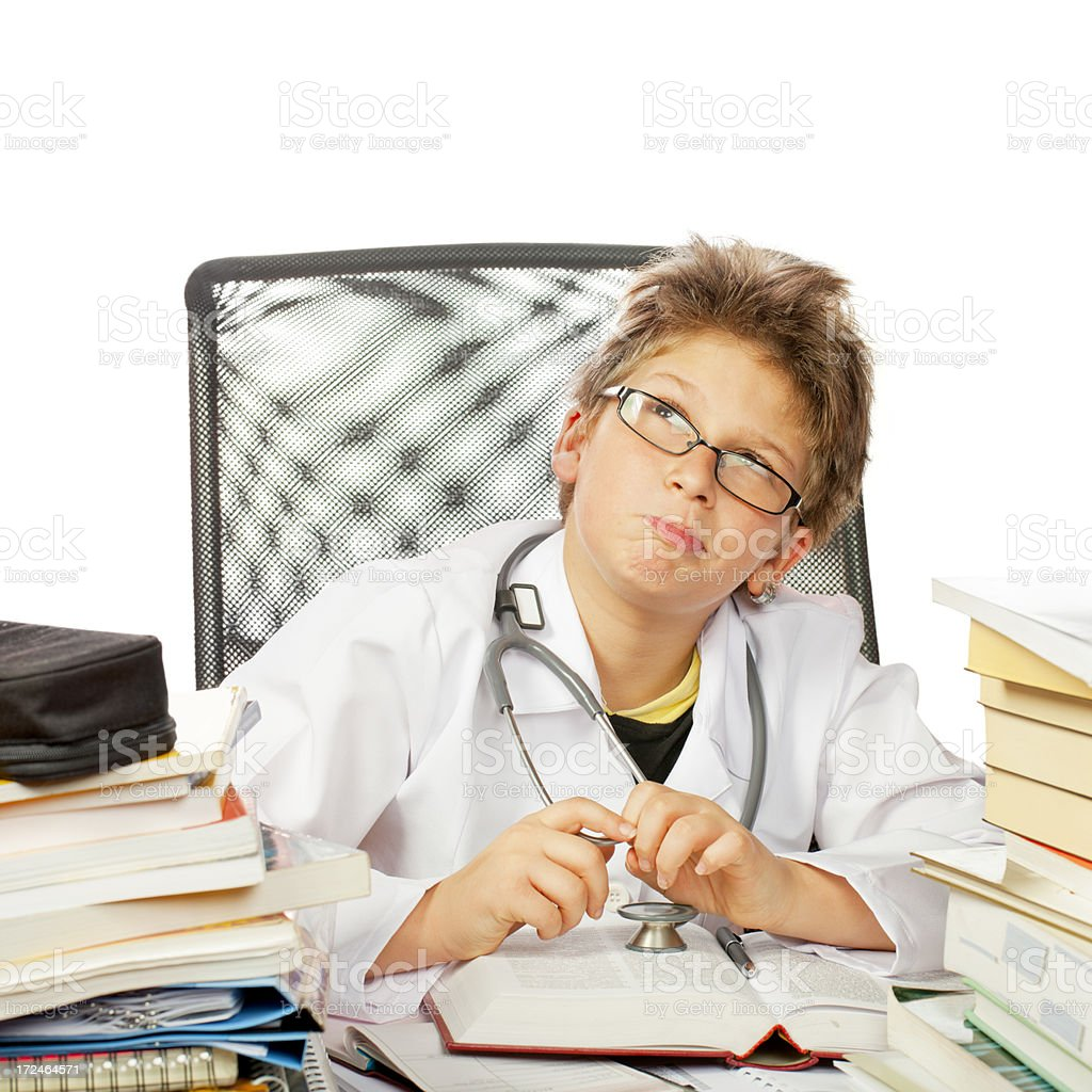 Future Cherfully doctor is thinking royalty-free stock photo