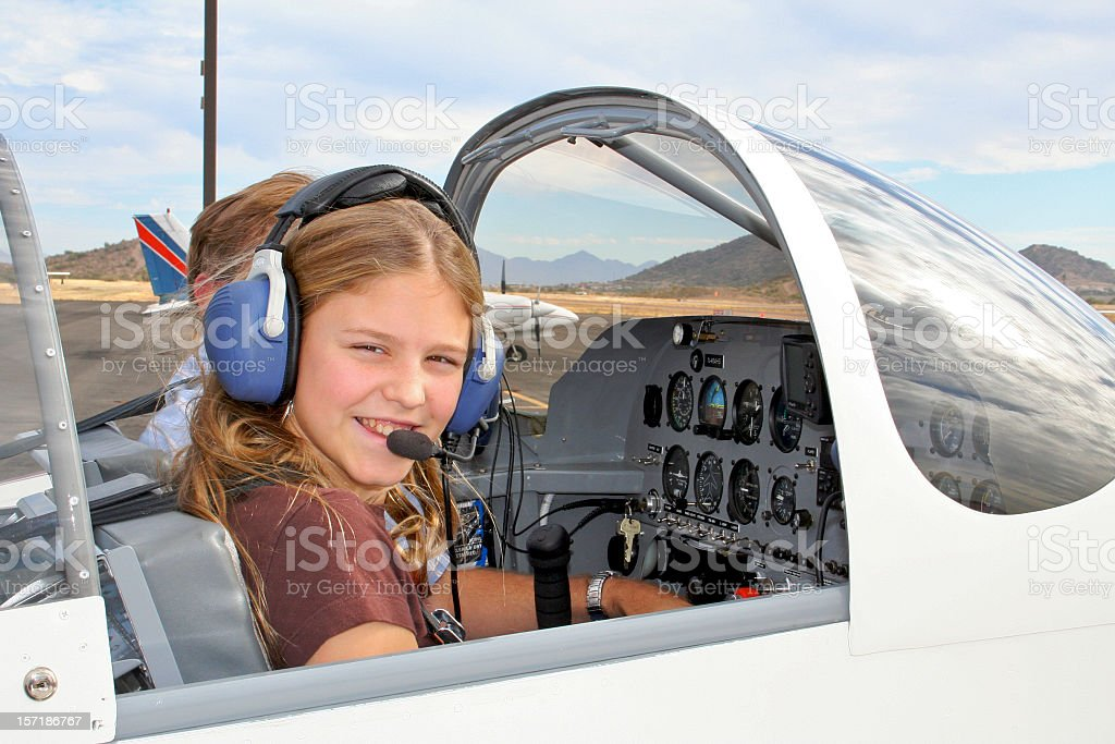Future Girl Pilot stock photo