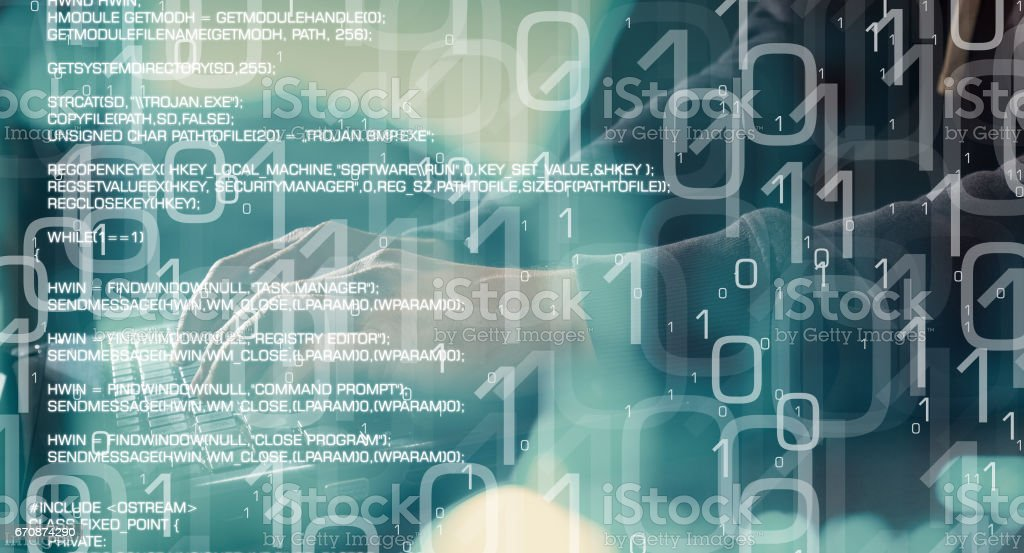 Future of technology, computer cyber attack, computer security concept stock photo