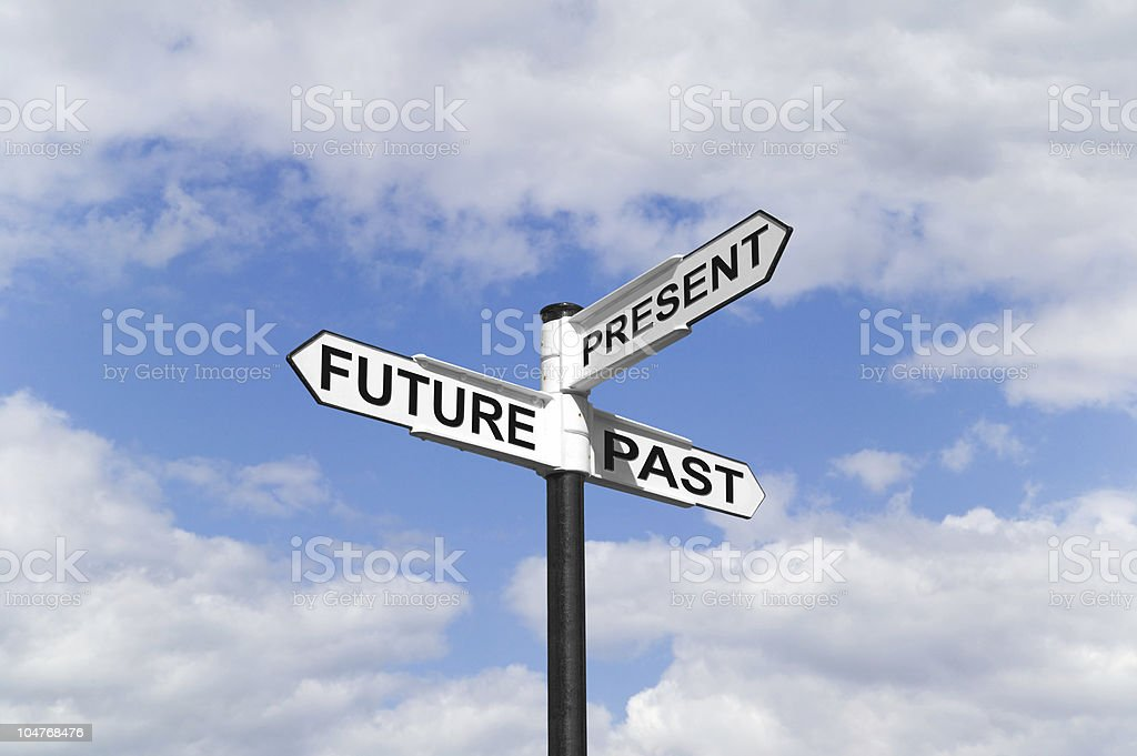 Future Past & Present signpost in the sky royalty-free stock photo