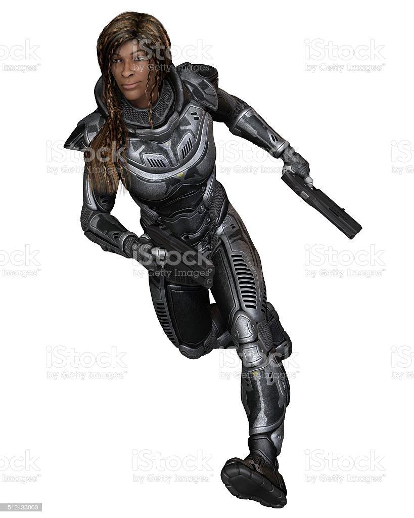 Future Soldier, Black Female, Running Forward - science fiction illustration stock photo