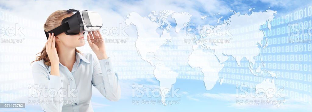 Future technology concept, Woman wearing virtual reality VR glasses. 360 degrees. isolated in blu sky, binary code and world map background stock photo