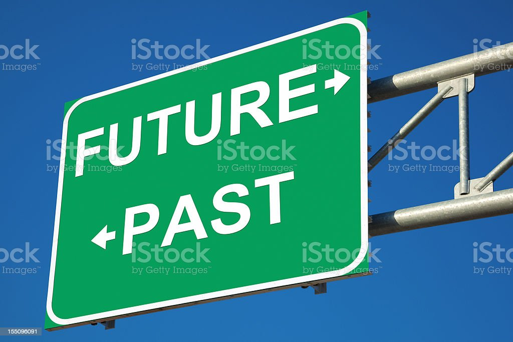 Future VS Past Highway Sign stock photo