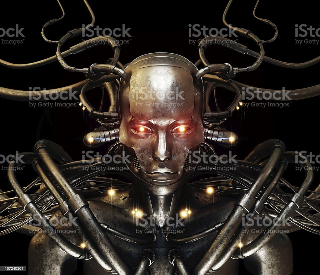 Future wired man cyborg royalty-free stock photo