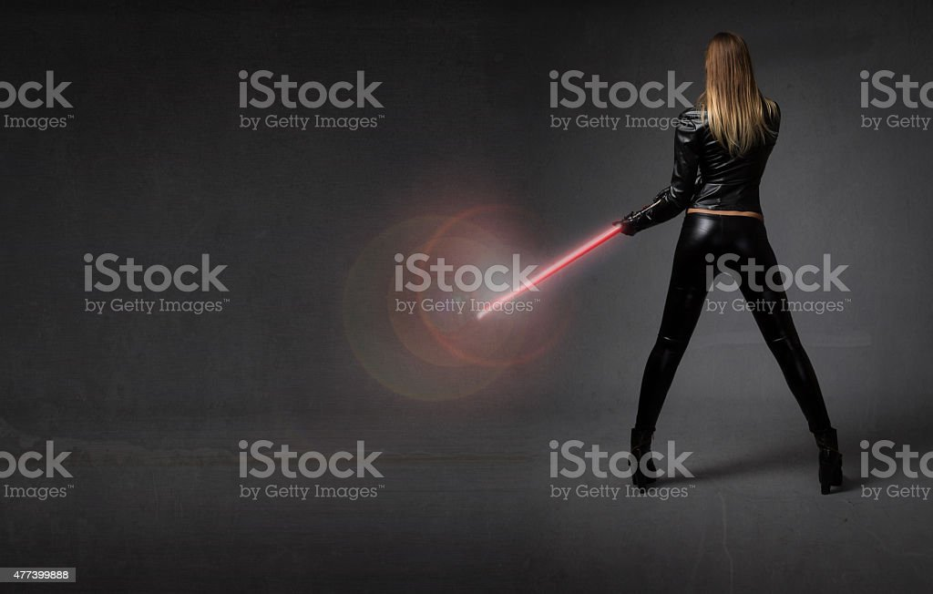 futurisitc soldier with weapon on hand stock photo