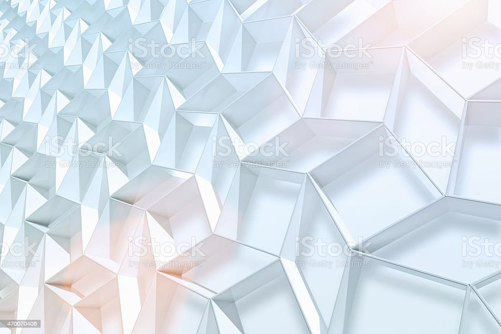 Futuristic 3D background with white shapes and light vector art illustration