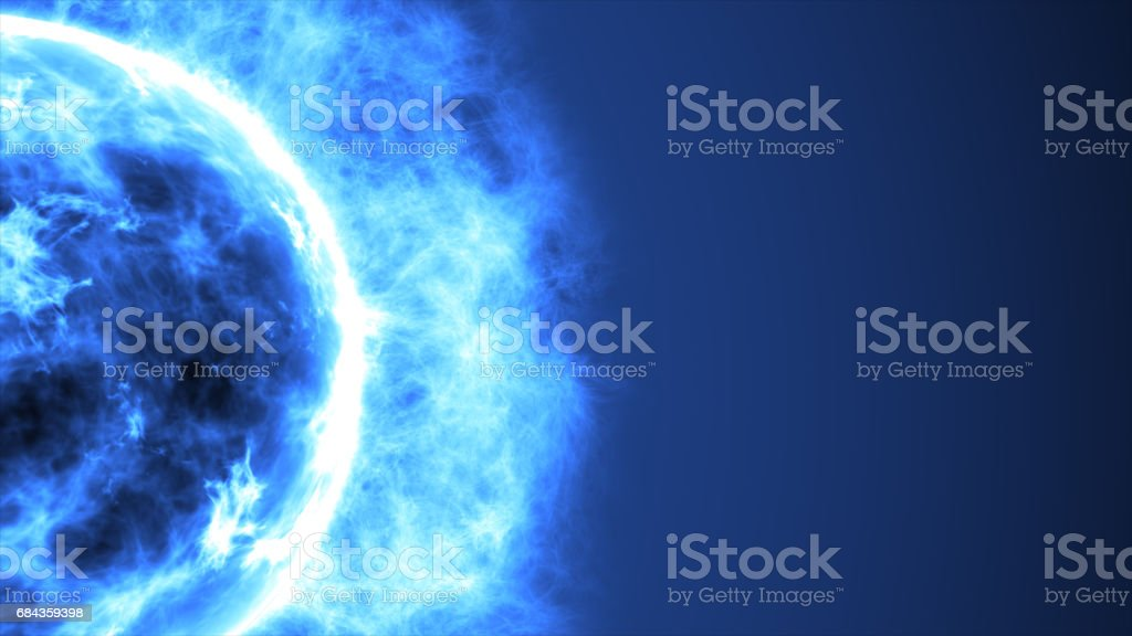 Futuristic abstract blue sun in space with flares. Great futuristic background stock photo