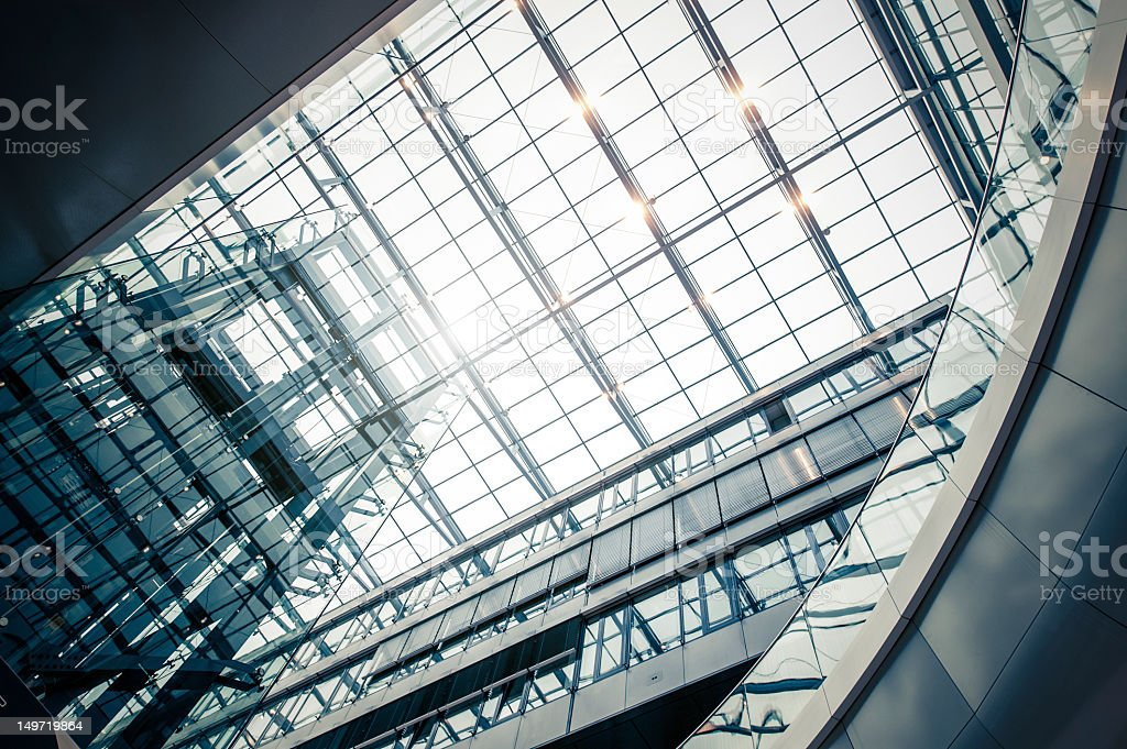 Futuristic airport hall with elevator royalty-free stock photo