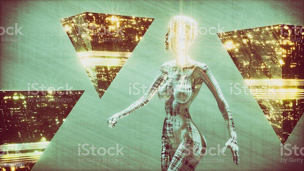 Futuristic alien cyborg, fembot stock photo
