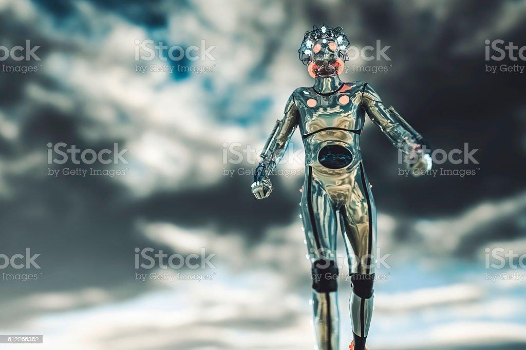 Futuristic alien cyborg on a distant planet stock photo