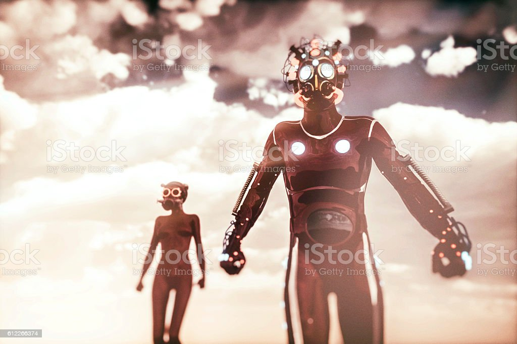 Futuristic alien cyborgs on a distant planet stock photo