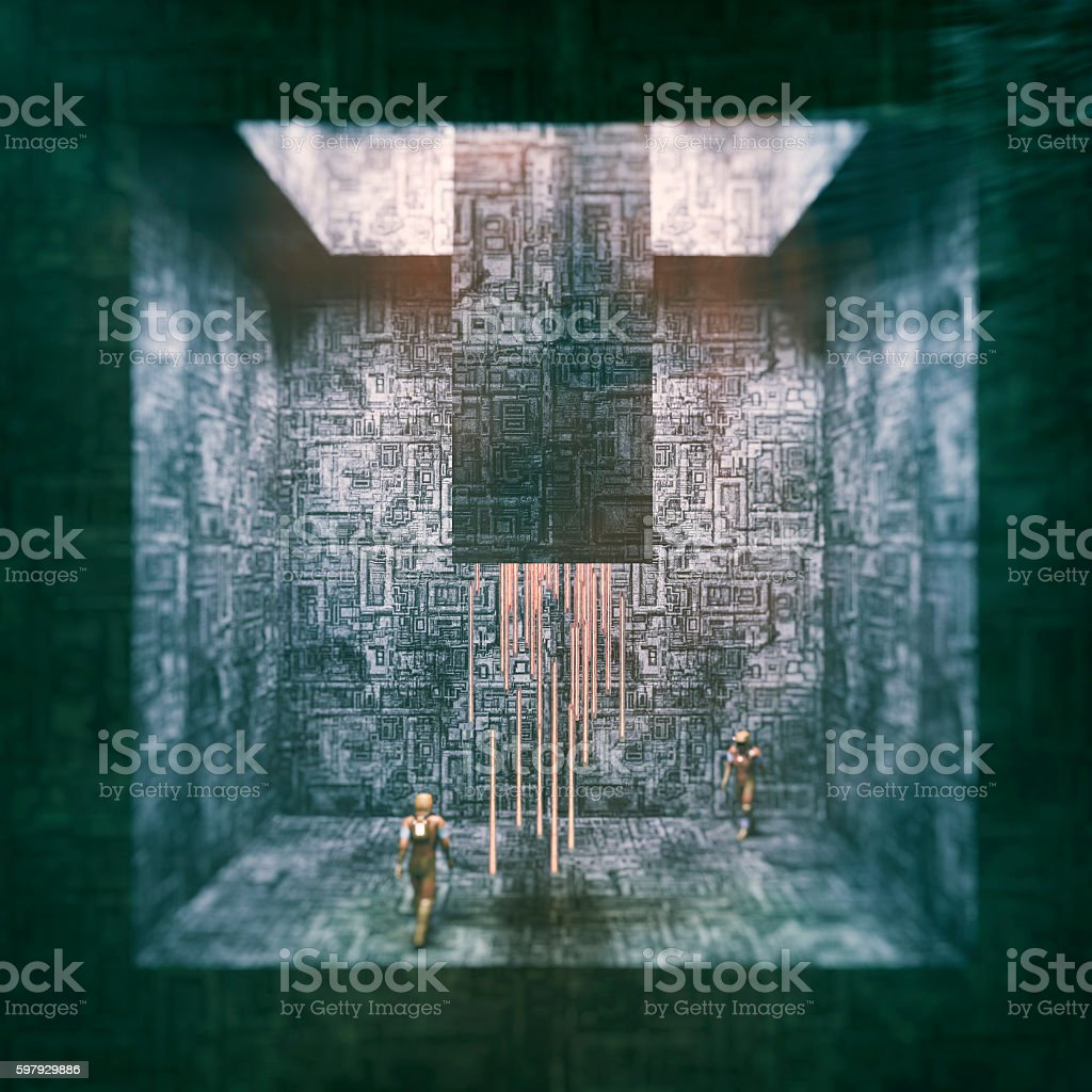 Futuristic alien environment with astronauts stock photo