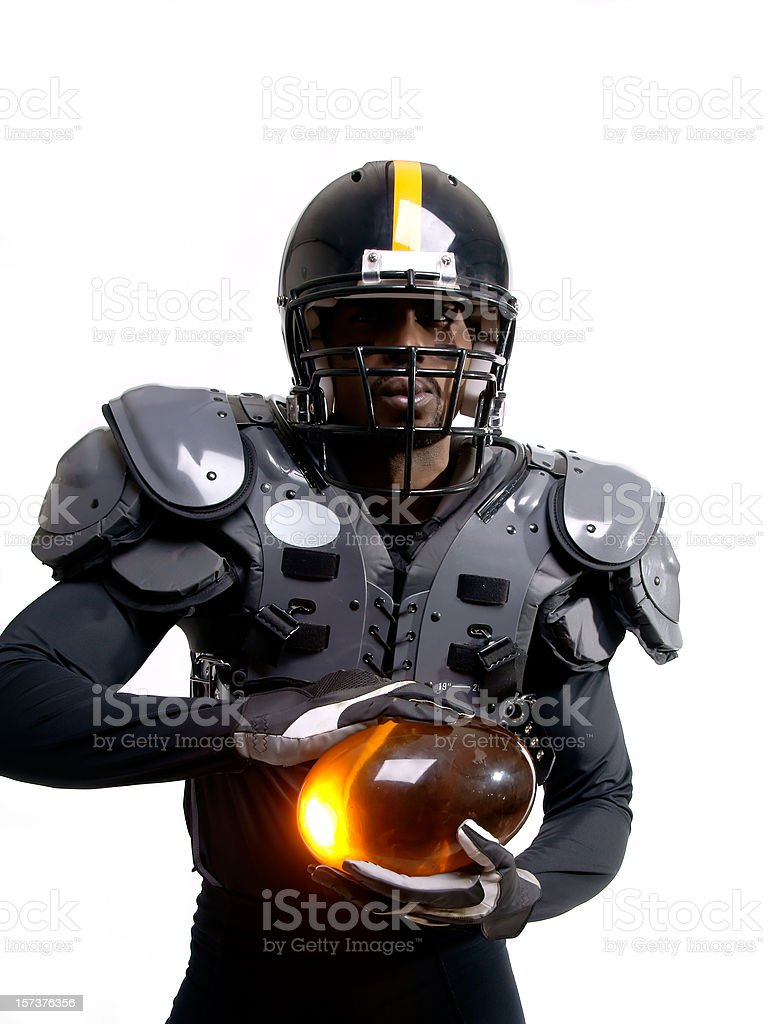 Futuristic American Football Player With Pads stock photo