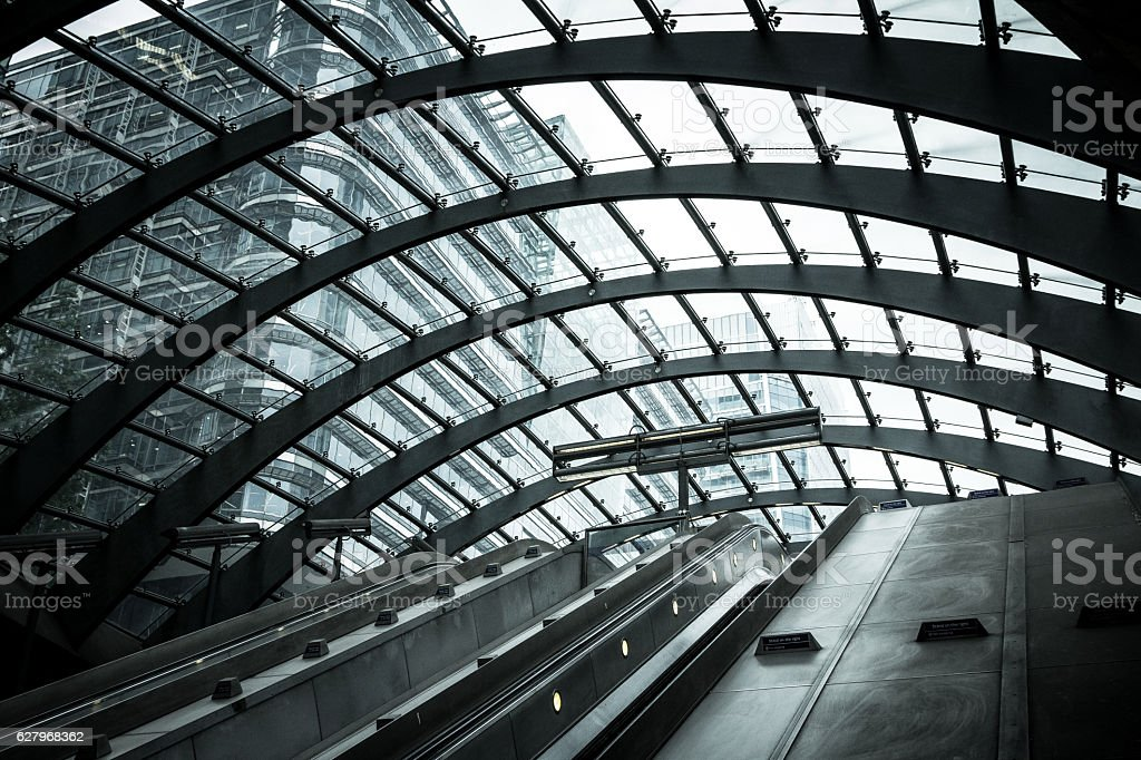 Futuristic architecture at Canary Wharf, City of London, UK stock photo