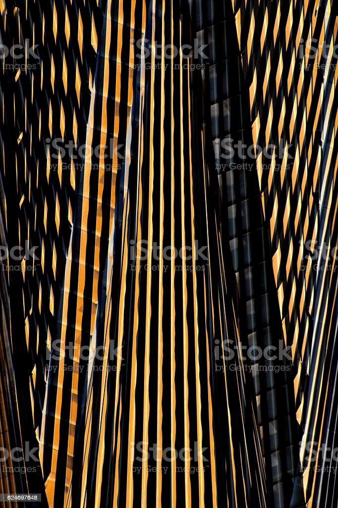 Futuristic architecture. Digitally rendered image of skyscraper with night lighting stock photo