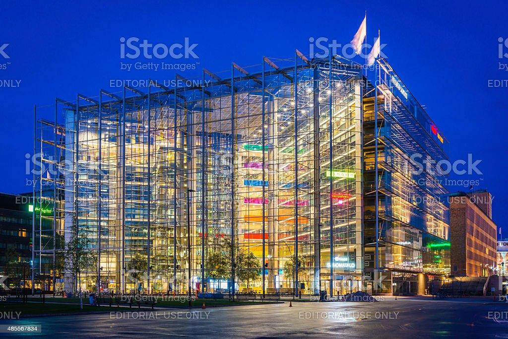 Futuristic architecture vibrant neon night offices downtown cityscape Helsinki Finland stock photo