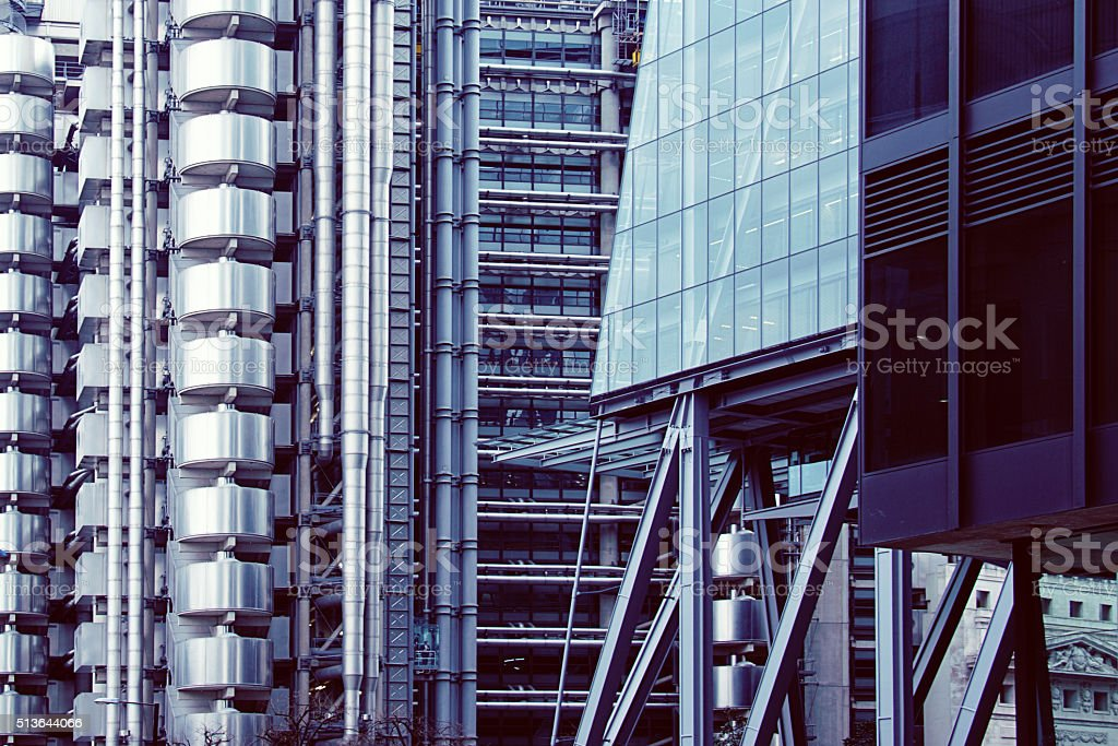 Futuristic Architecture with Famous Lloyd Building, London stock photo