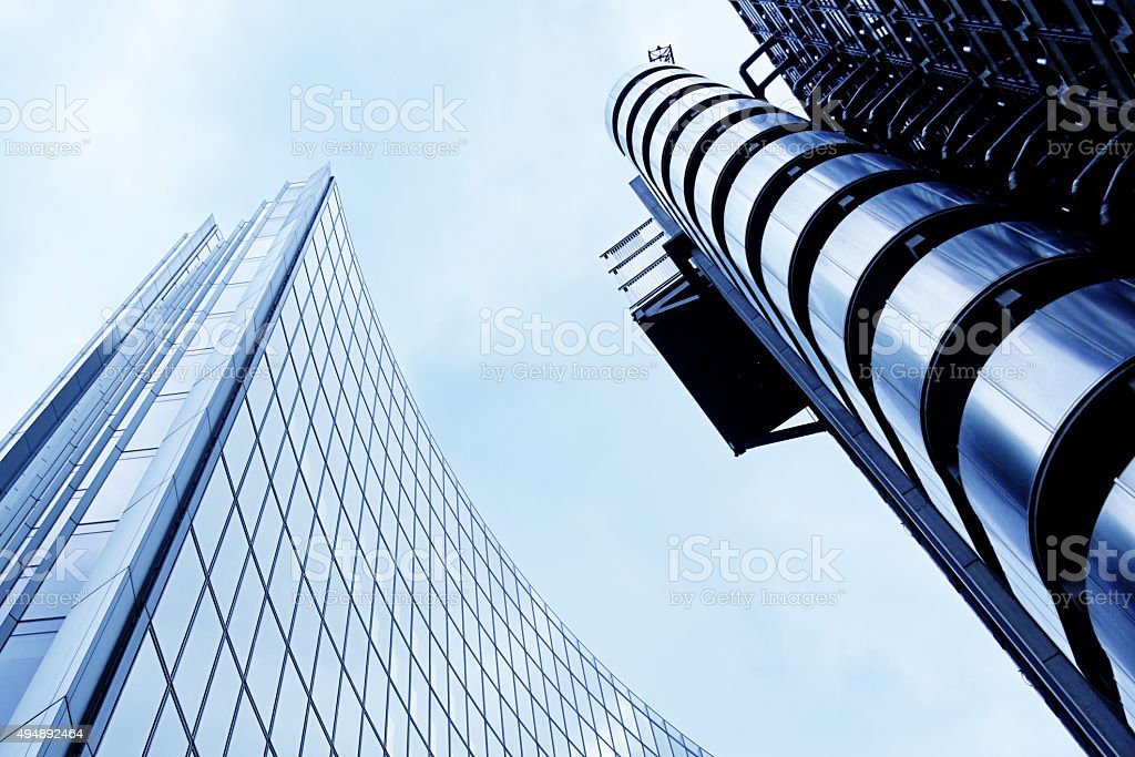Futuristic Architecture with Famous Lloyd Building stock photo
