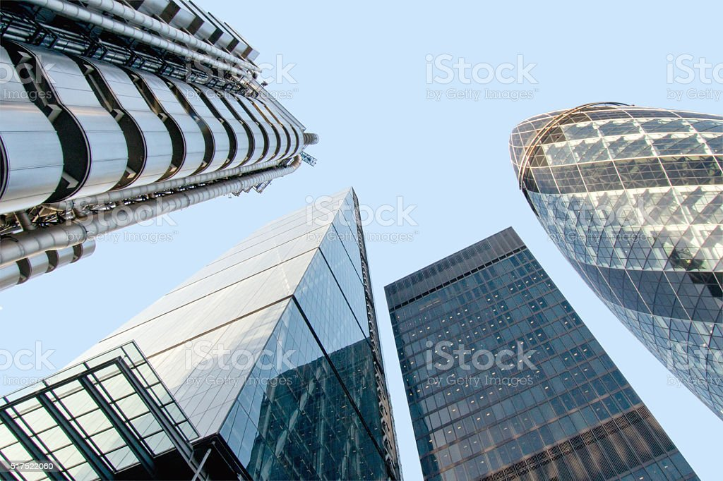 Futuristic Architecture with Gherkin and Lloyd Building, London stock photo