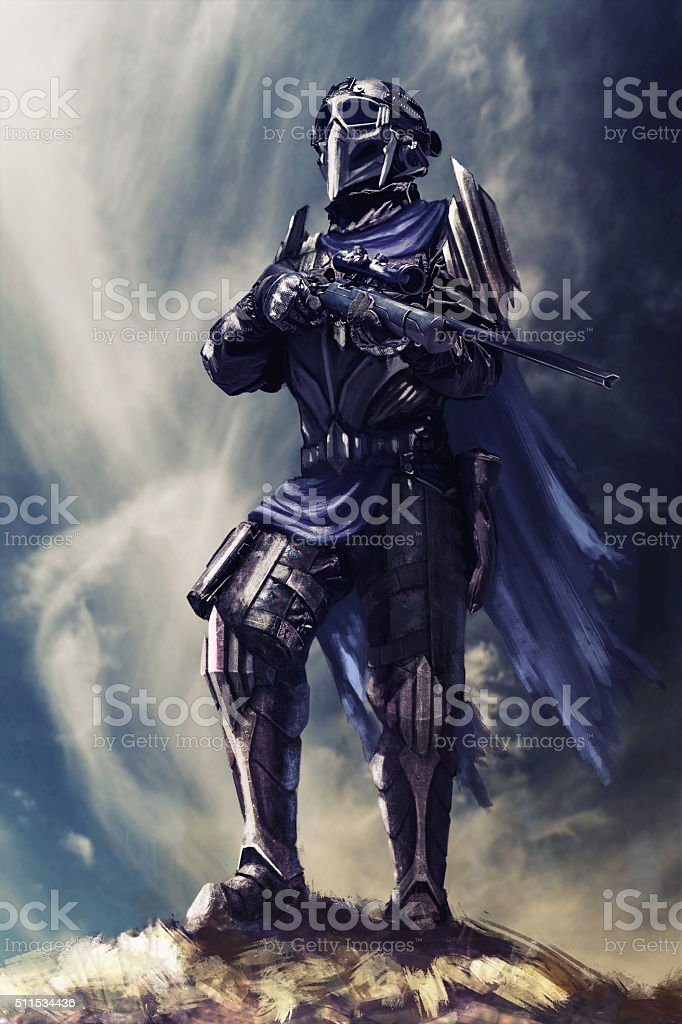 Futuristic armored warrior stock photo