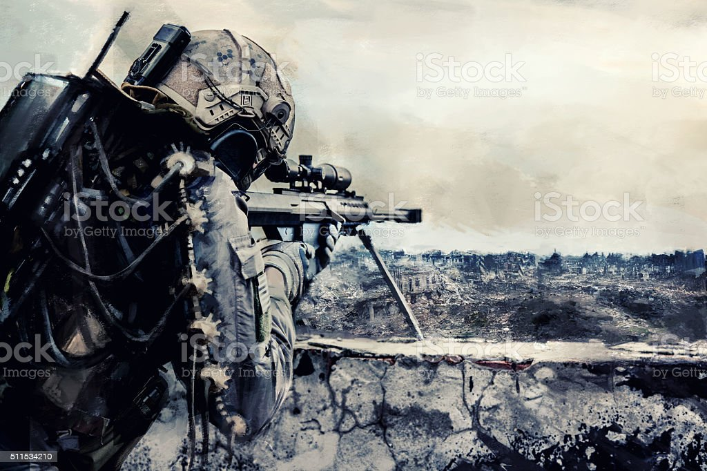 Futuristic army sniper stock photo