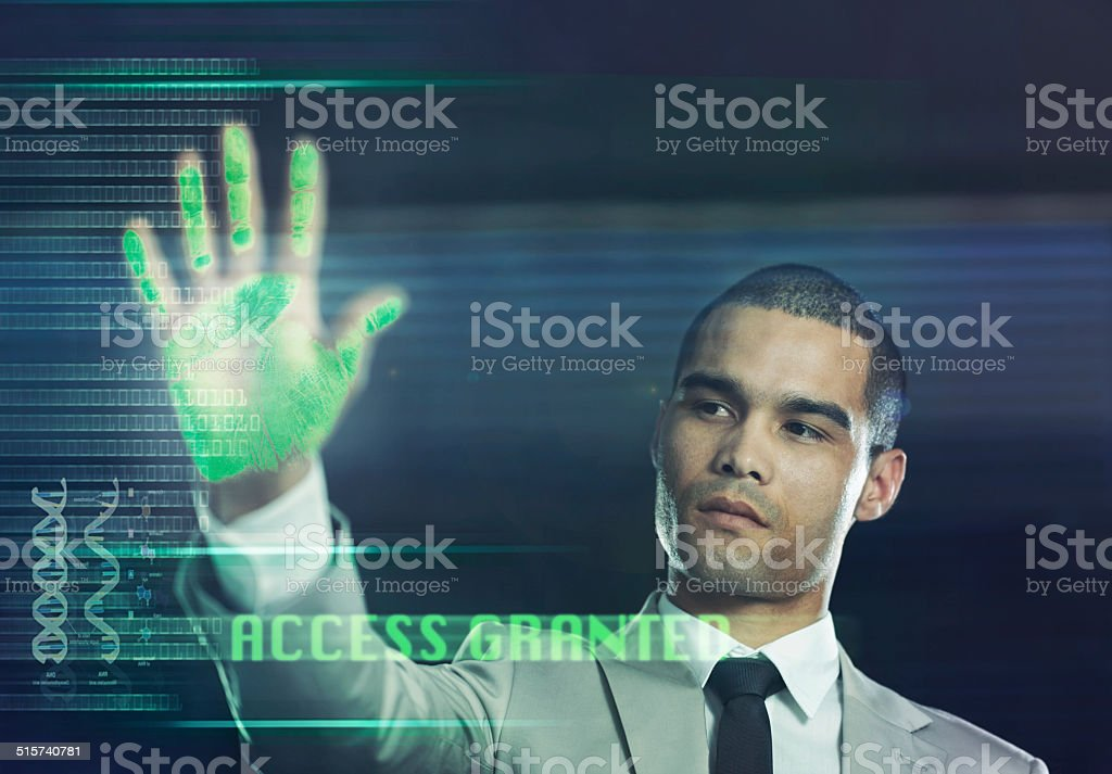 Futuristic biometric scanner stock photo