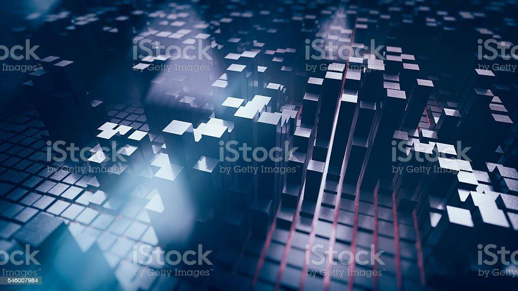 Futuristic block shaped cityscape stock photo