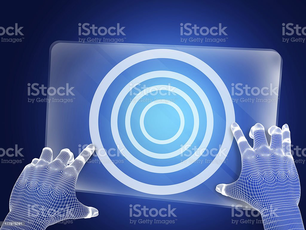 Futuristic blue figure touching screen royalty-free stock photo