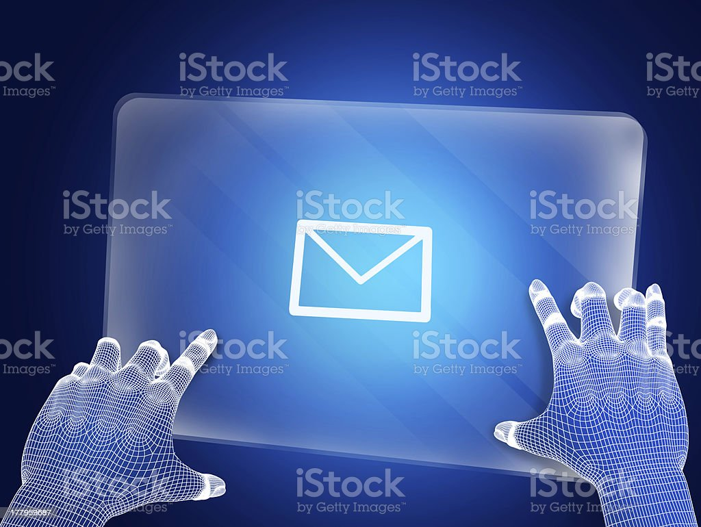 Futuristic blue figure touching screen with e mail royalty-free stock photo