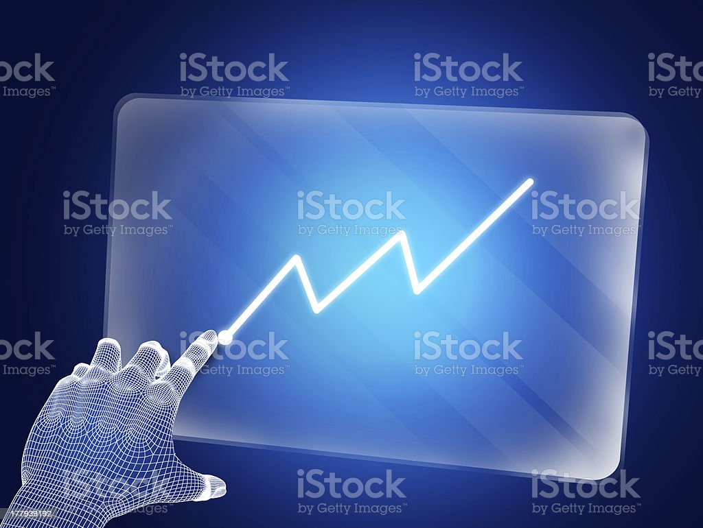 Futuristic blue figure touching screen with graph royalty-free stock photo