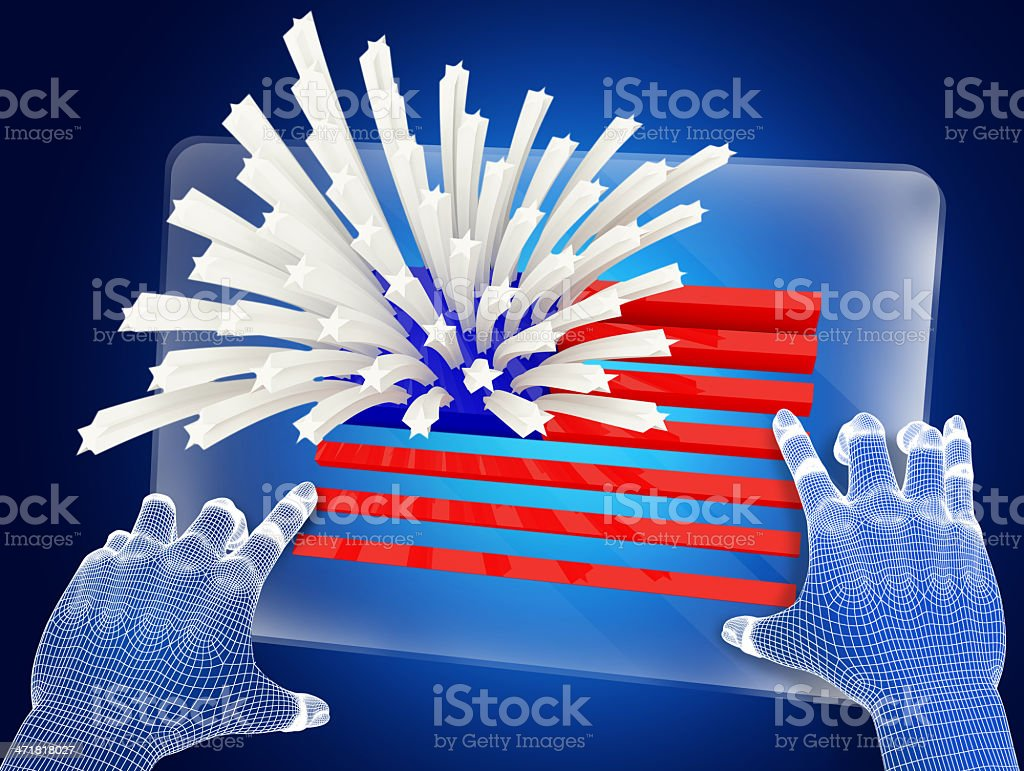 Futuristic blue figure touching screen with USA flag royalty-free stock photo