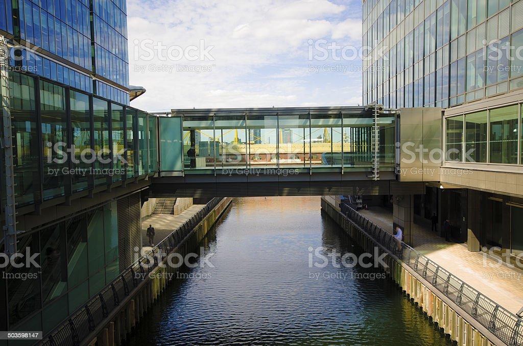 Futuristic bridge between two buildings stock photo