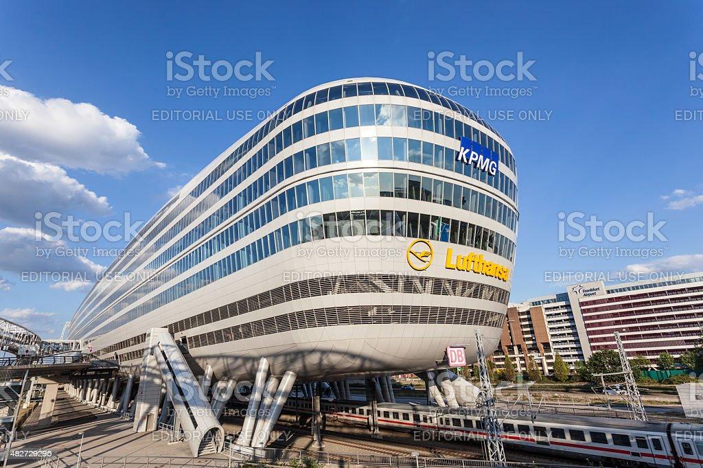 Futuristic building at the Frankfurt Airport stock photo