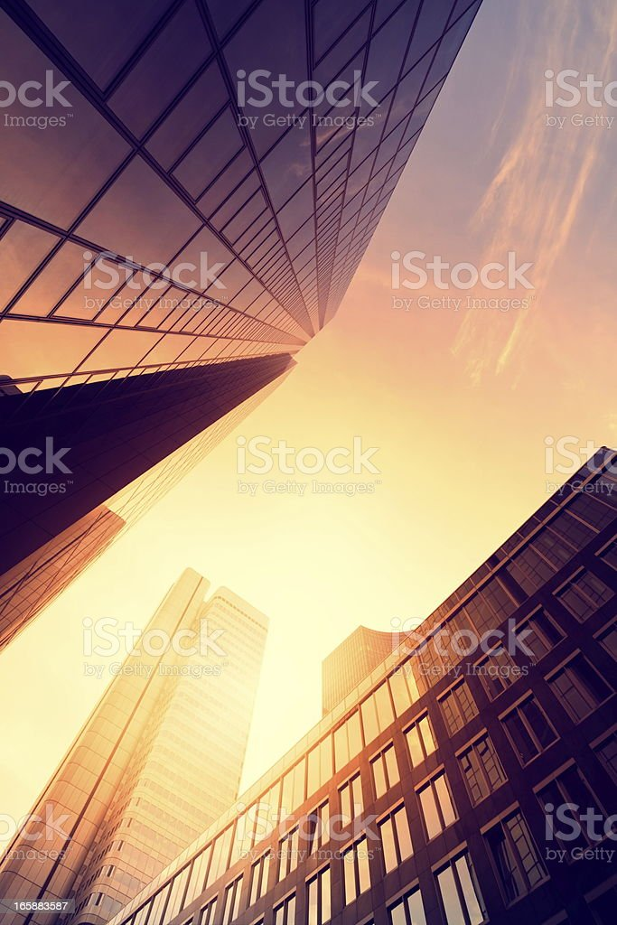 Futuristic building in the sunset royalty-free stock photo