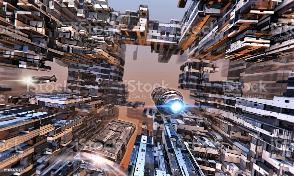 Futuristic buildings and spaceships. stock photo