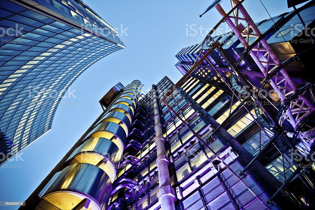 Futuristic Buildings in Business District stock photo