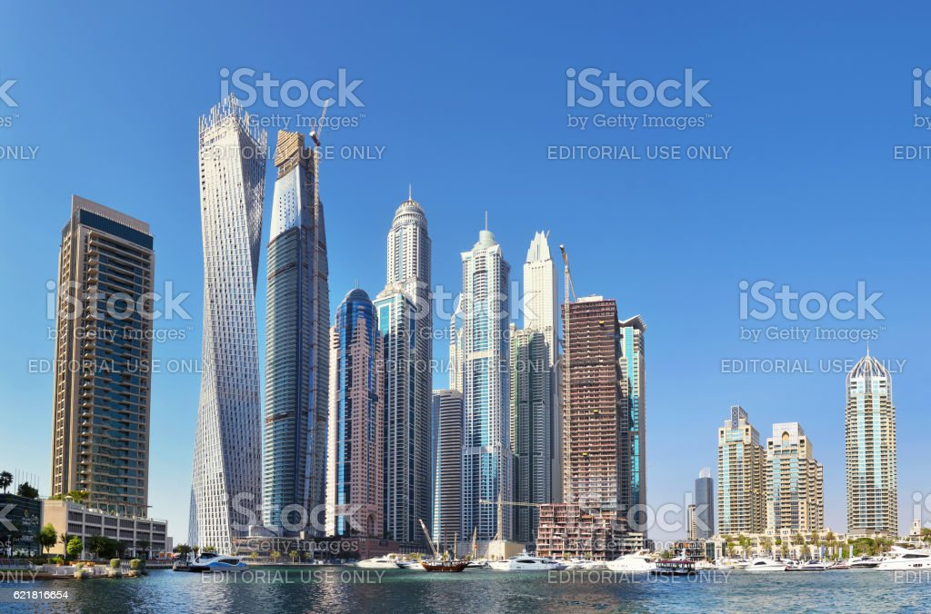 Futuristic buildings in Dubai Marina. stock photo