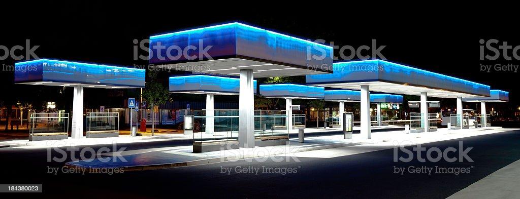 Futuristic bus terminal stock photo