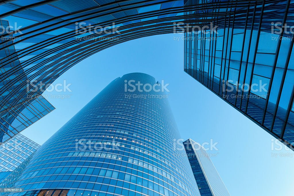 Futuristic Business Architecture, La Defense, Paris stock photo