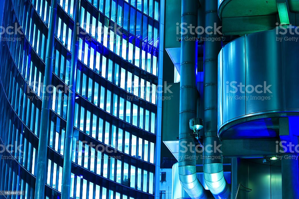 Futuristic Business Buildings at Night royalty-free stock photo