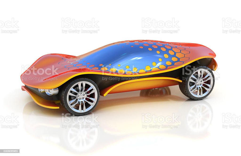 futuristic car 3d concept stock photo