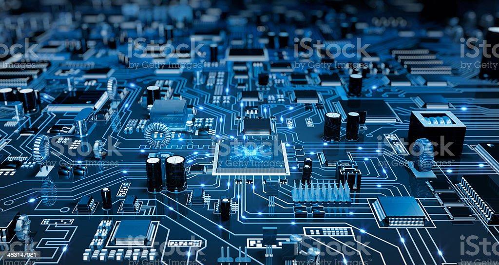 Futuristic Circuit Board. Blue with elecrons. stock photo