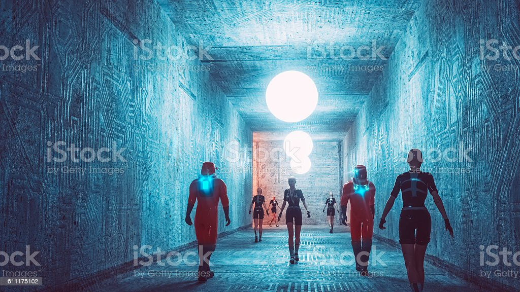 Futuristic city corridor stock photo