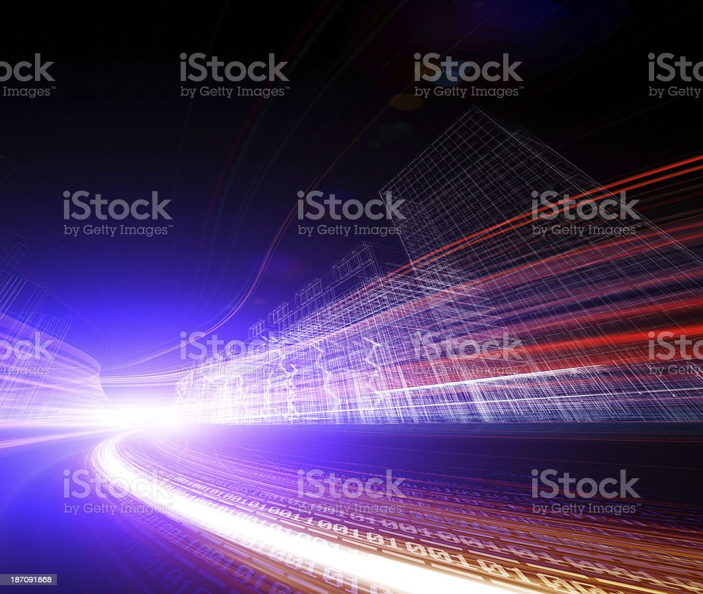 futuristic city street with binary code road wallpaper royalty-free stock photo