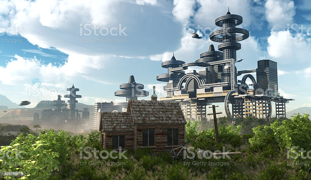 Futuristic City with flying spaceships and ancient house stock photo
