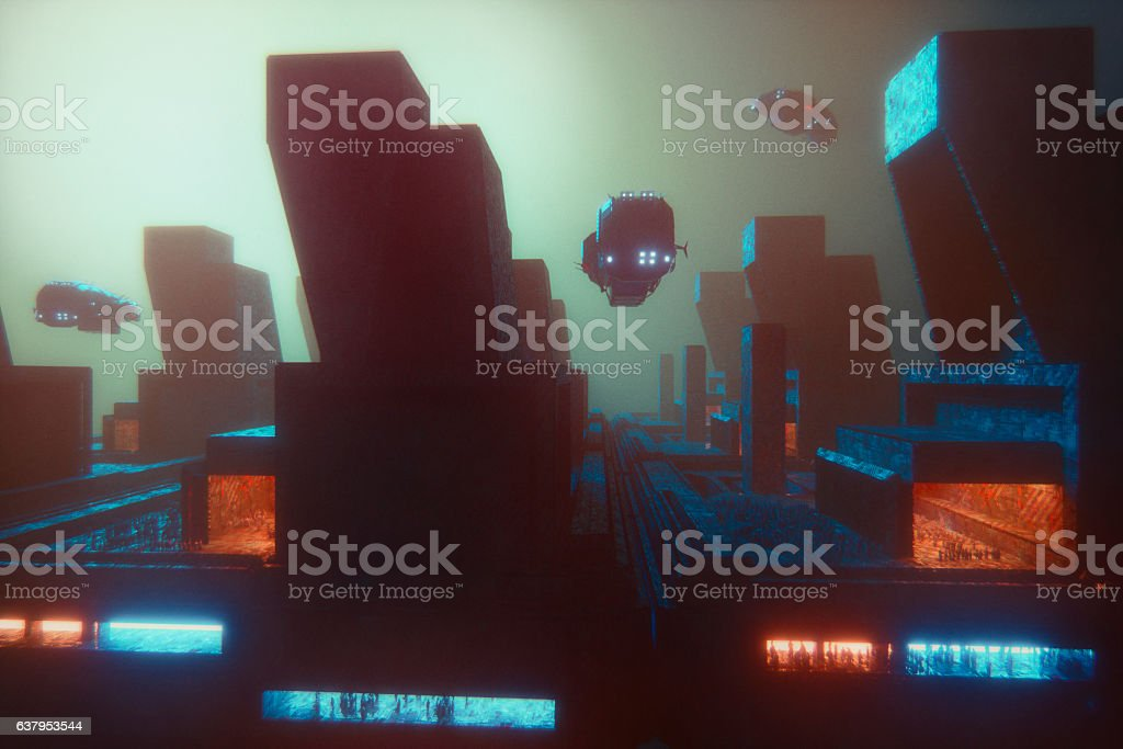 Futuristic cityscape at night stock photo
