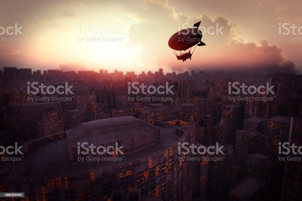 Futuristic cityscape at sunset with steampunk airship stock photo