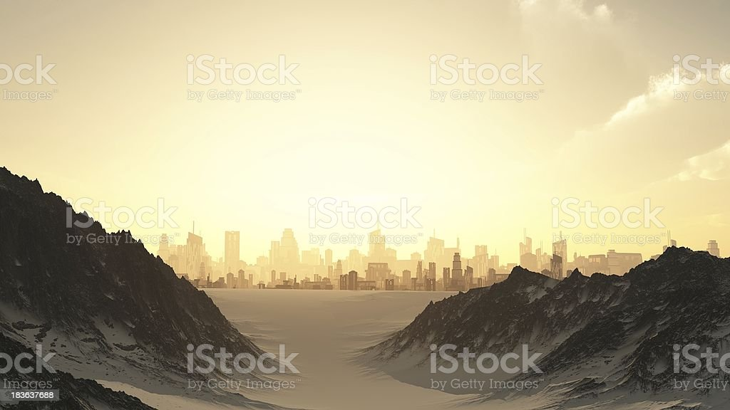 Futuristic Cityscape in Winter Sunset royalty-free stock photo