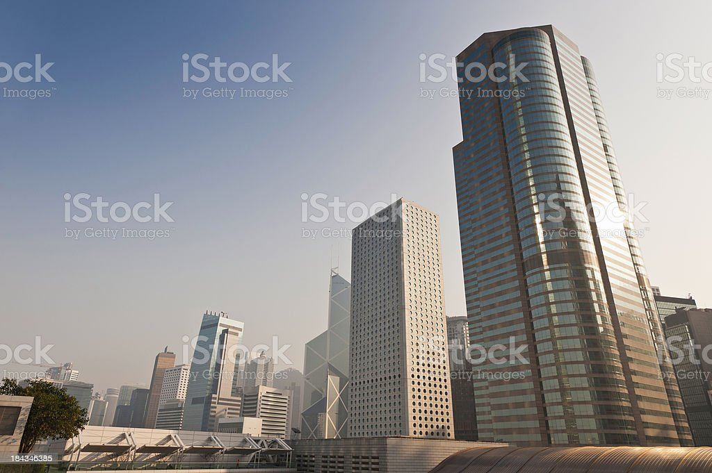 Futuristic cityscape skyscrapers gleaming Hong Kong China stock photo